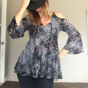 Tops - Lace cold shoulder bell sleeve top